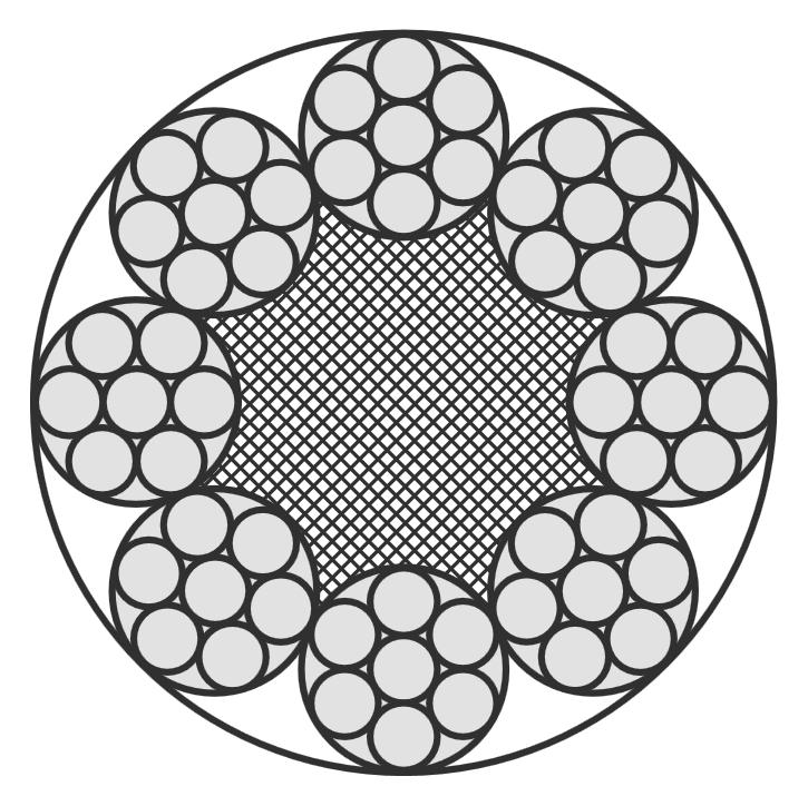Edelstahlseil, 8x7+PP (halbweich/flexibel)