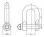 Edelstahlschäkel mit WLL, Zeichnung
